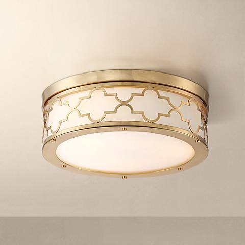 "Possini Euro Karenna 15"" Wide Satin Brass Ceiling Light"