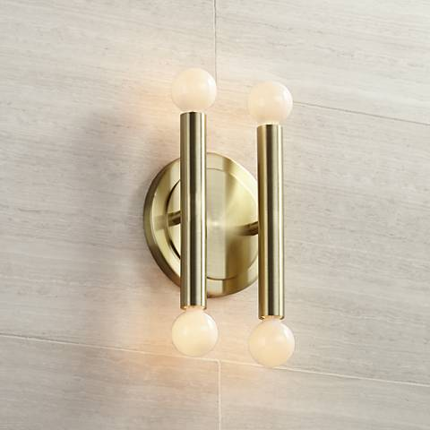 "Possini Euro Hera 12 1/2"" High Satin Brass Wall Sconce"