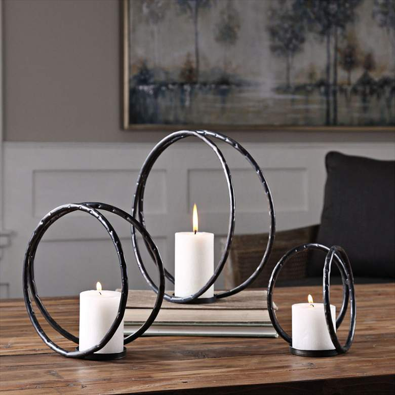 Pina Black Ring Candle Holders Set of 3 by Uttermost