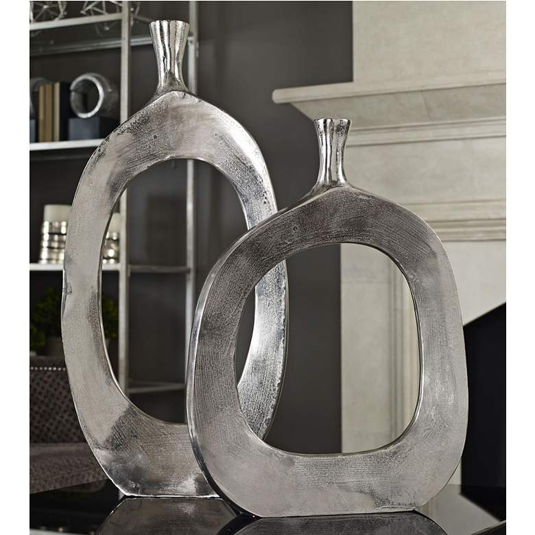 Uttermost Cierra Textured Nickel 2-Piece Modern Vase Set