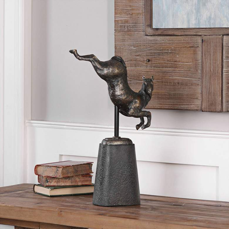 "Uttermost Boris 19""H Golden Bronze Jumping Horse Statute"