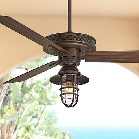 "60"" Taladega Bronze Damp Ceiling Fan W/ Cage Light Kit"