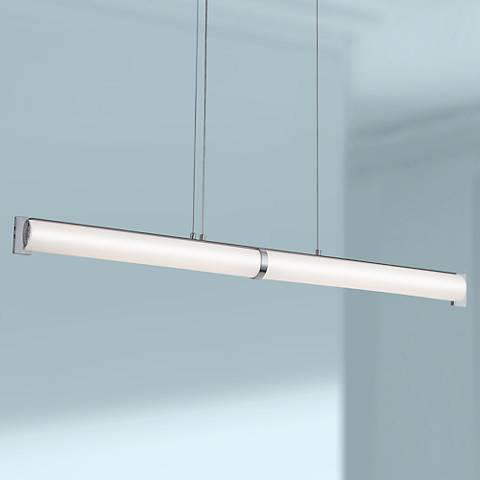 "George Kovacs Tube 42""W Brushed Nickel LED Island Pendant"