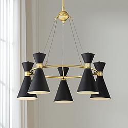 "George Kovacs Conic 26"" Wide Honey Gold Chandelier"