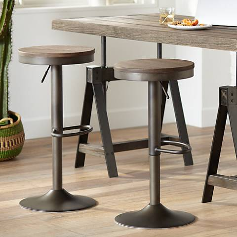 Dakota Brown Antique Adjustable Swivel Bar Stools Set of 2