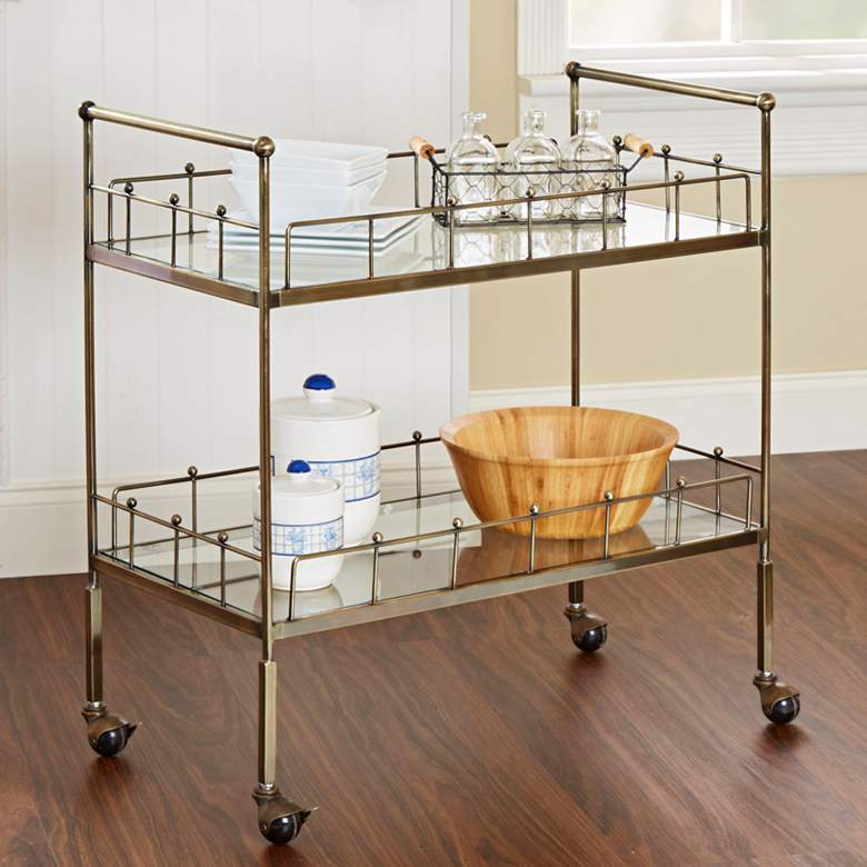 "Fitz 30"" Wide 2-Tier Antique Gold and Glass Serving Cart"