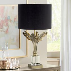Cheri Black Drum Shade Metal Leaves Antique Brass Table Lamp