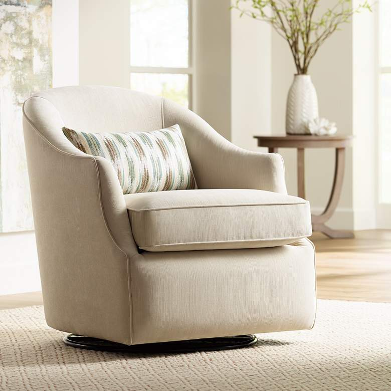 Infinity Snowdrift White Swivel Accent Chair