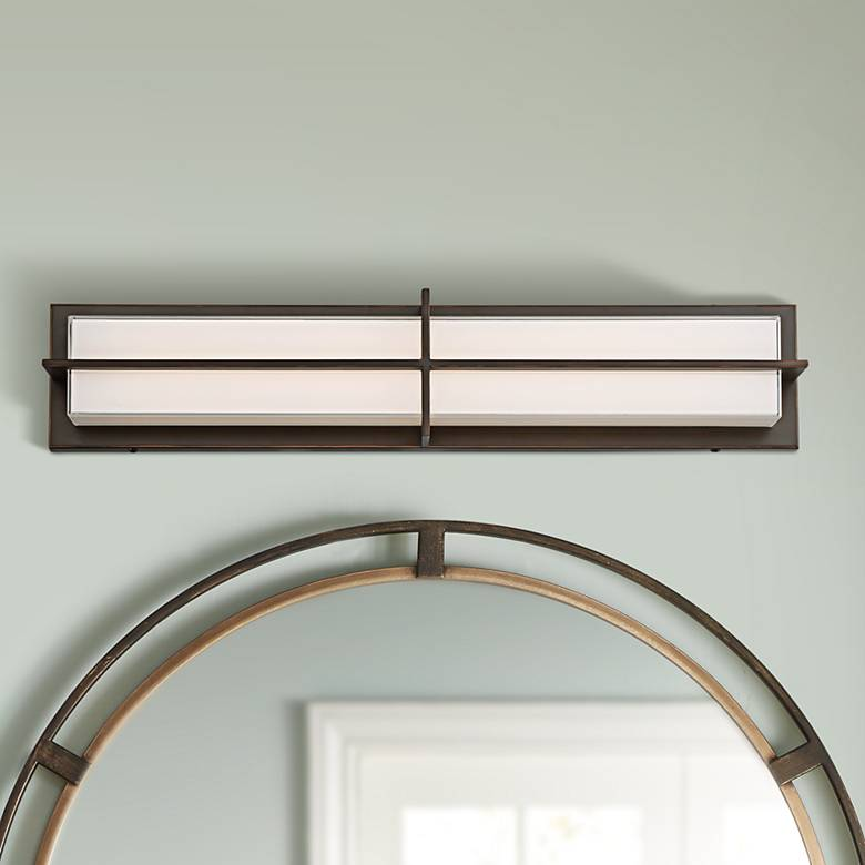 "Possini Euro Darien 26"" Wide Bronze LED Bath Light"