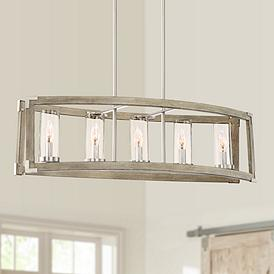 Kerr 32 3 4 Wide Wood And Brushed Nickel 5 Light Chandelier