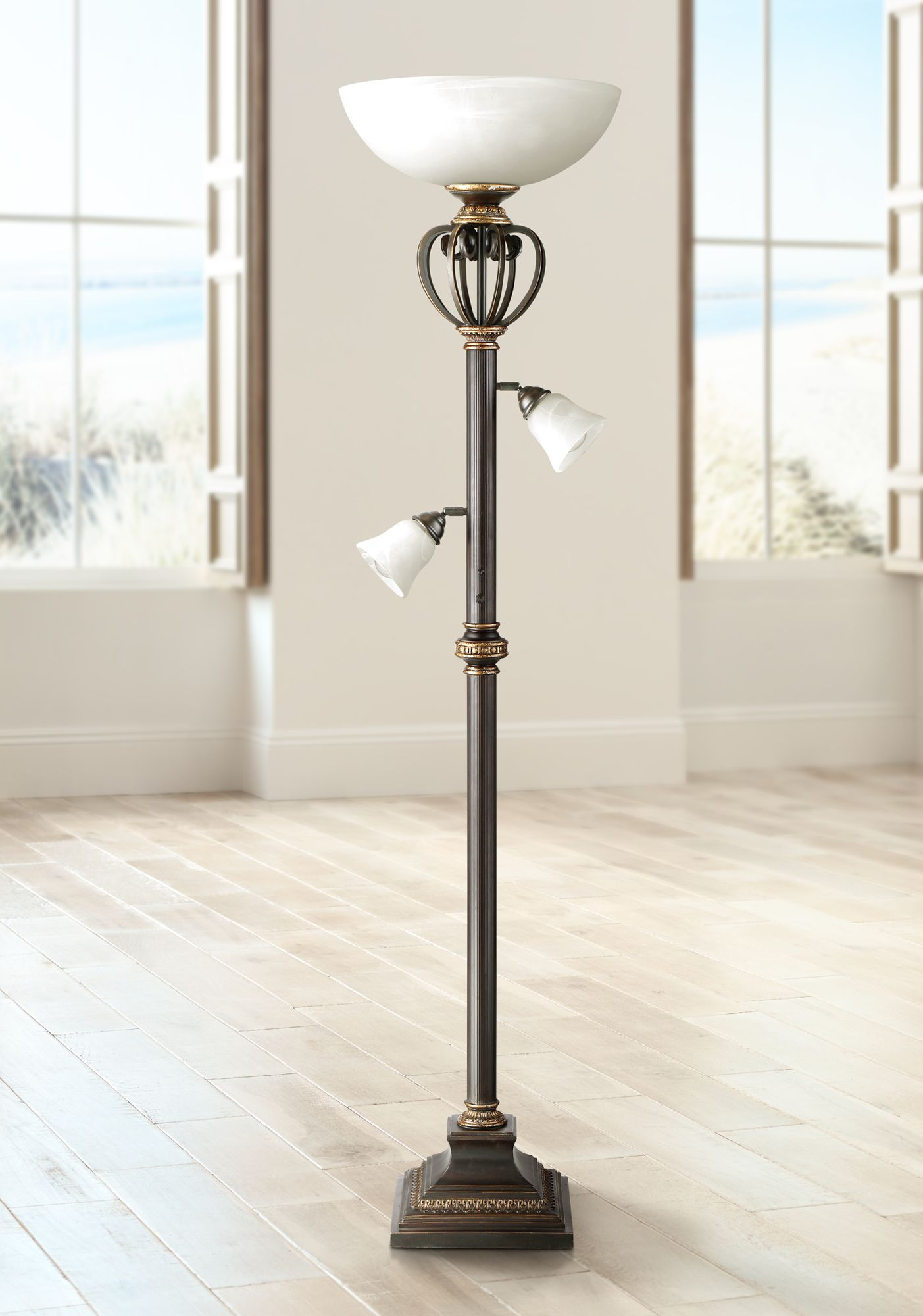 Warfeld Light Blaster™ Polished Brass Torchiere Floor Lamp