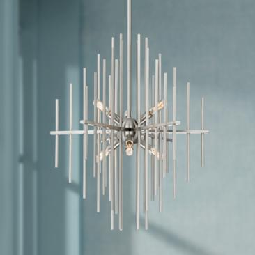 "Possini Euro Tovia 20"" Wide Brushed Nickel Rod Chandelier"