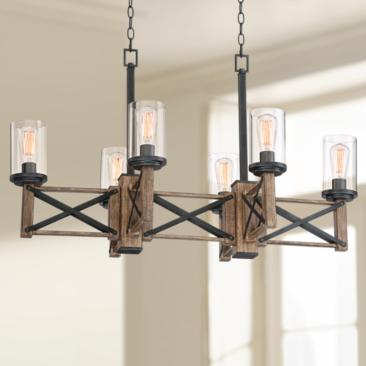"McBride 40 1/4"" Wide 6-Light Wood Grain Island Chandelier"