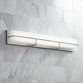 Possini Euro Linx 33 1 2 Wide Chrome Linear Led Bath Light
