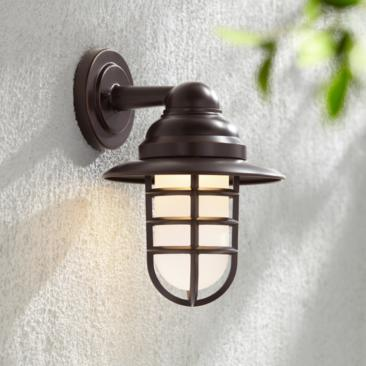 "Marlowe 13 1/4""H Bronze Hooded Cage LED Outdoor Wall Light"