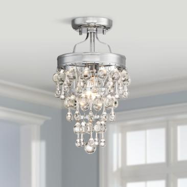 "Euria 9"" Wide Chrome and Clear Glass Ceiling Light"