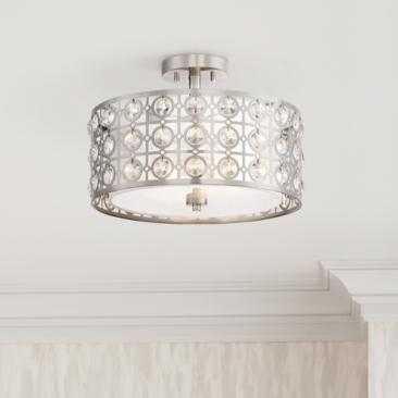 "Saira Crystal 15 1/2"" Wide Brushed Nickel Ceiling Light"