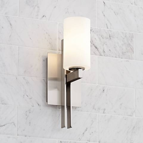 "Possini Euro Ludlow 14"" High Brushed Nickel Wall Sconce"