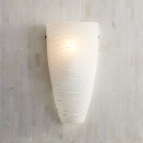 "Possini Euro 13 1/4""H White Striped Art Glass Wall Sconce"