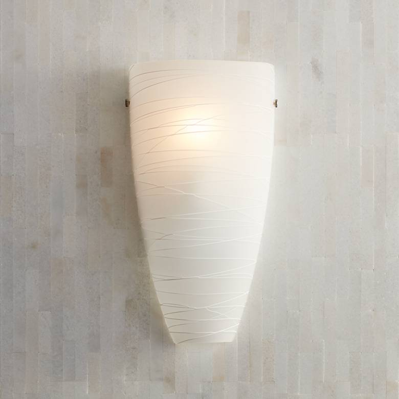 "Isola 13 1/4"" High White Striped Glass Wall Sconce"