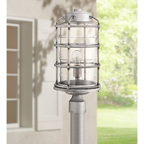 "Craftmade Hadley 17 1/2""H Aged Galvanized Outdoor Post Light"