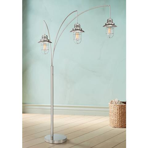 Barrow Industrial Lantern 3-Light Arc Floor Lamp