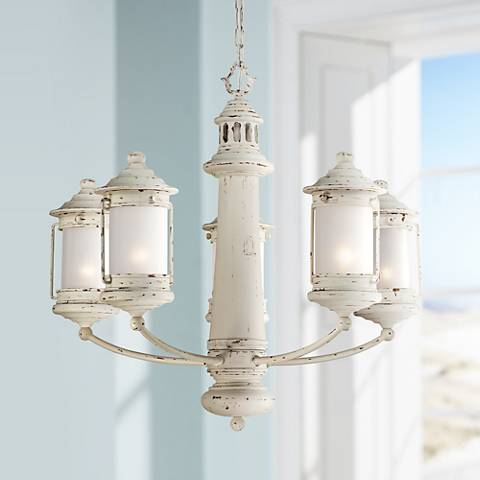 "Light House 27"" Wide Antique White 5-Light Chandelier"