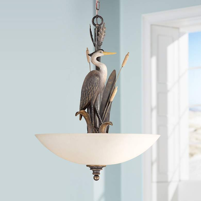 "Heron 20"" Wide Antique and Glass 3-Light Pendant"