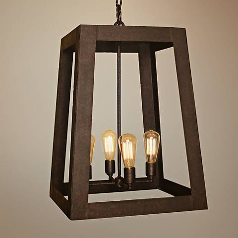 "Robertson 18""W Bronze Rust 4-Light Indoor-Outdoor Pendant"
