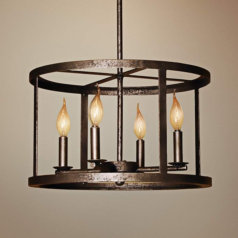 "Laura Lee Vento 17"" Wide Silver 4-Light Chandelier"