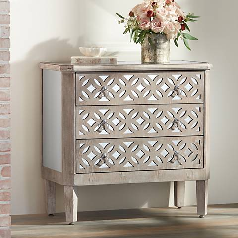 Charly Natural Whitewash 3-Drawer Lattice Accent Chest