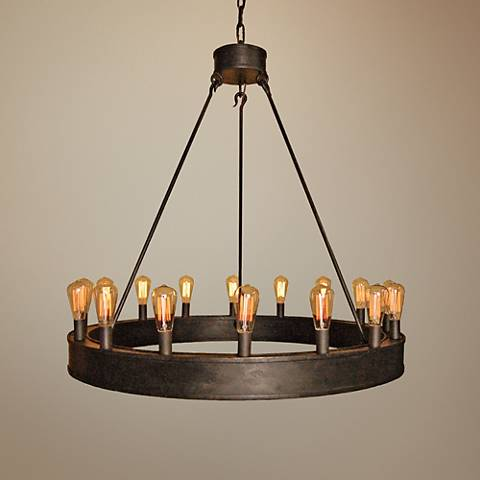 "Laura Lee William 42"" Wide Bronze Rust 16-Light Chandelier"