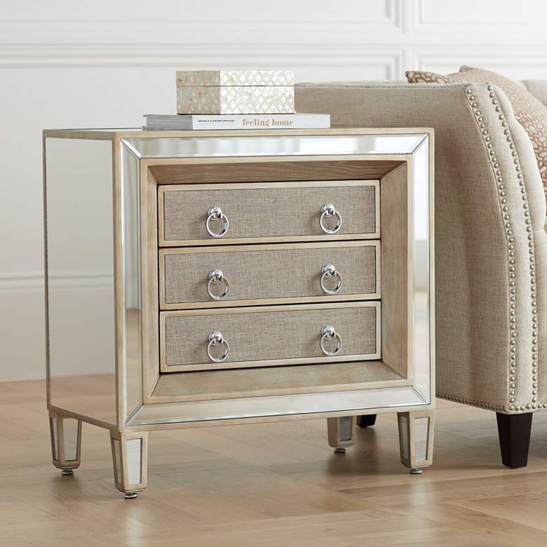 "Mira 28"" Wide 3-Drawer Mirrored Accent Table"