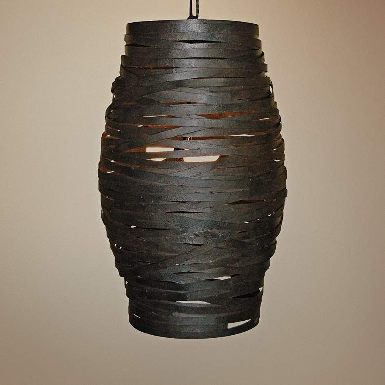 "Laura Lee Honeycomb 20"" Wide Bronze Rust Pendant"