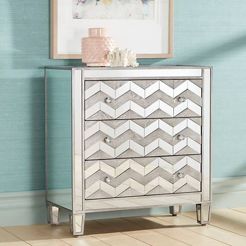 Derrick Chevron 3-Drawer Accent Cabinet