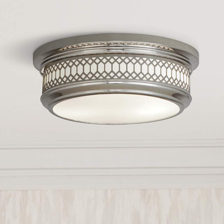 "Tucker 10 3/4""W Polished Nickel Ceiling Light"