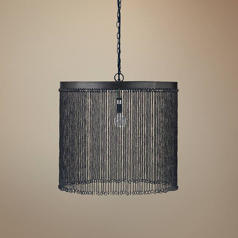"Jamie Young Large link 18 1/2"" Wide Iron Pendant Light"