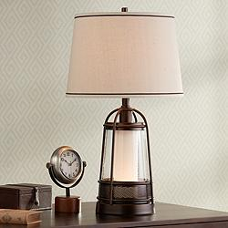 "Hugh 26"" High Bronze Lantern Table Lamp with Night Light"