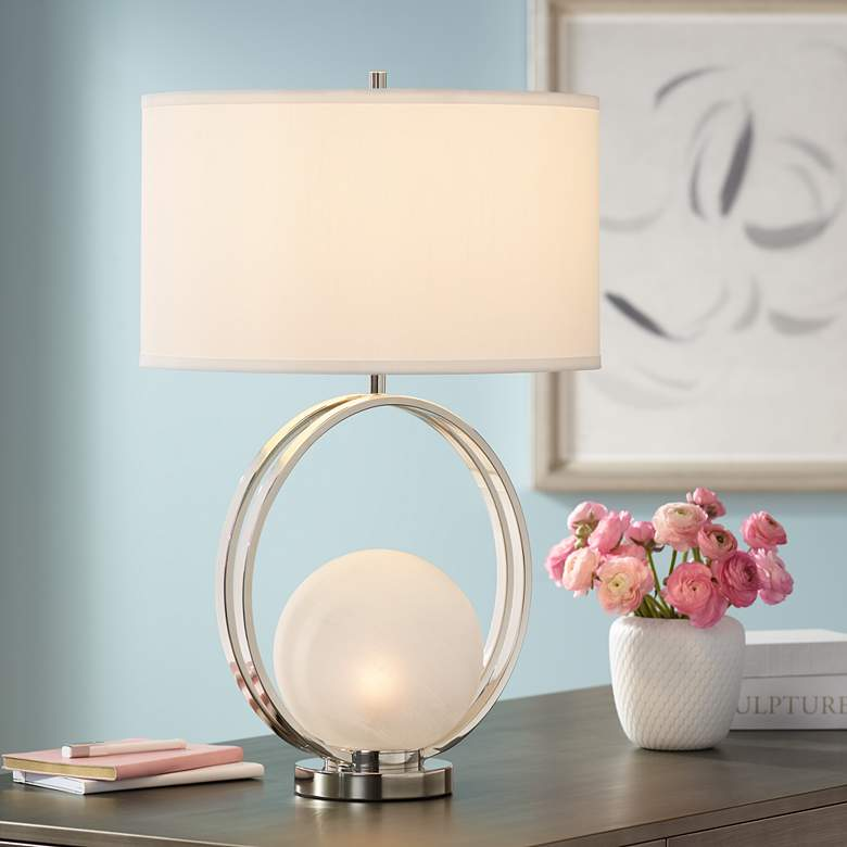 Matilda Polished Nickel Glass Ball Table Lamp