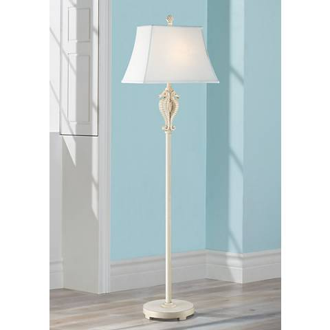 Seahorse Antique White Sculpted Coastal Floor Lamp - #16J68 ...
