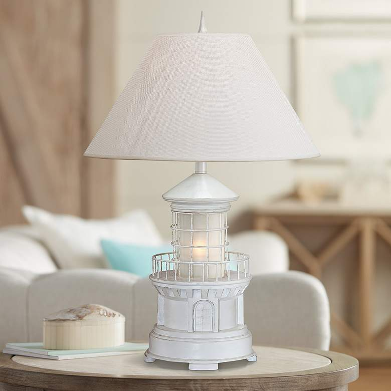 Lighthouse Antique White Coastal Table Lamp with Nightlight