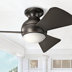 "34"" Sola Olde Bronze Wet LED Hugger Ceiling Fan"
