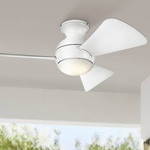"34"" Sola Matte White Wet LED Hugger Ceiling Fan"