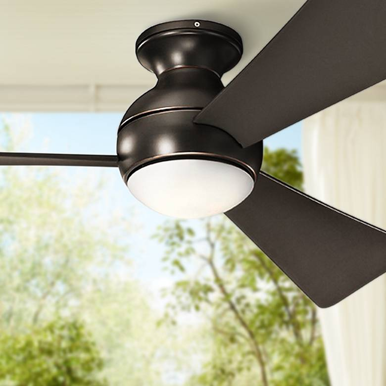 "54"" Sola Olde Bronze Wet LED Hugger Ceiling Fan"
