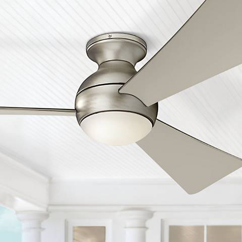 "54"" Sola Brushed Nickel Wet LED Hugger Ceiling Fan"
