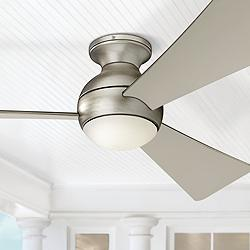 "54"" Sola Satin Nickel Wet LED Hugger Ceiling Fan"