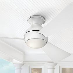 "54"" Sola Matte White Wet LED Hugger Ceiling Fan"