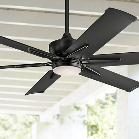 "60"" Kichler Szeplo II Satin Black Wet LED Ceiling Fan"
