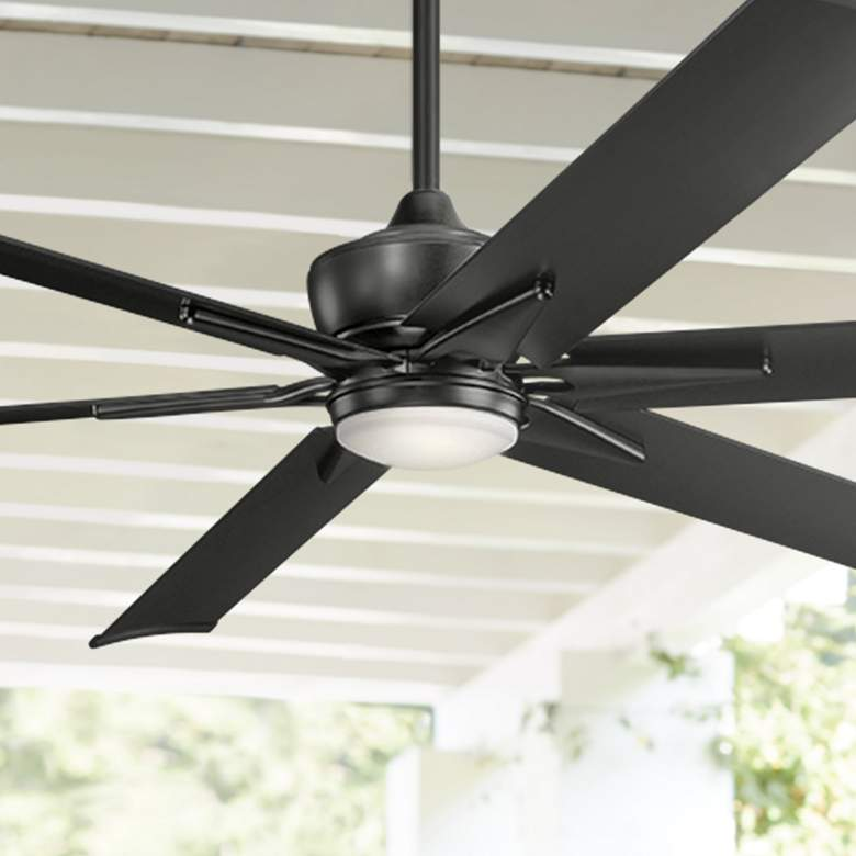 "80"" Kichler Szeplo II Satin Black Wet LED Ceiling Fan"