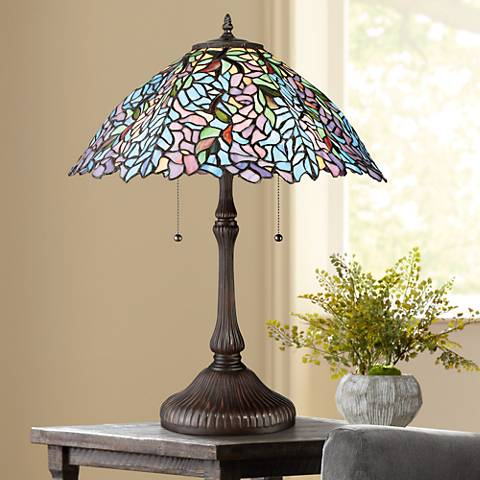 Quoizel Blue Trellis Russet Tiffany Style Art Glass Table Lamp
